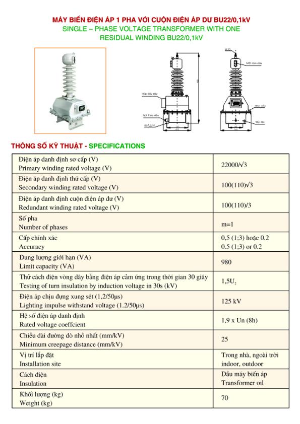 Máy biến điện áp 1 pha với cuộn điện áp dư BU22/0,1 kV