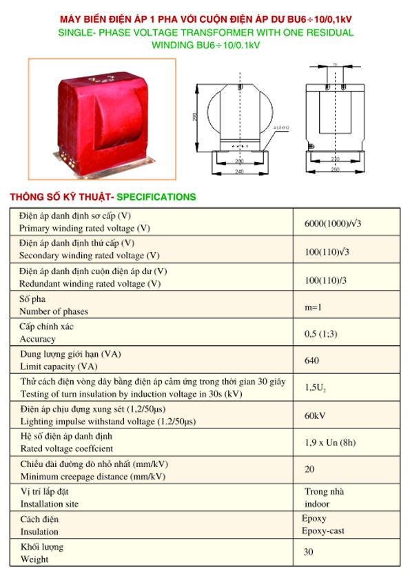 máy biến điện áp 1 pha với cuộn điện áp dư